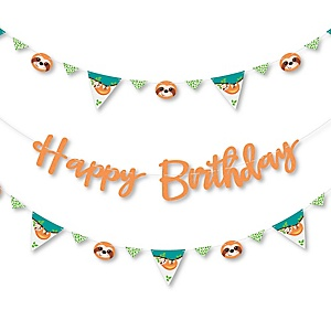 Let's Hang - Sloth - Birthday Party Letter Banner Decoration - 36 Banner Cutouts and Happy Birthday Banner Letters