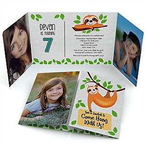 Let's Hang - Sloth - Personalized Birthday Party Photo Invitations - Set of 12