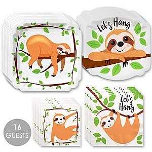 Let's Hang - Sloth - Baby Shower or Birthday Party Tableware Plates and Napkins - Bundle for 16