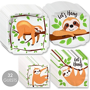 Let's Hang - Sloth - Baby Shower or Birthday Party Tableware Plates and Napkins - Bundle for 32