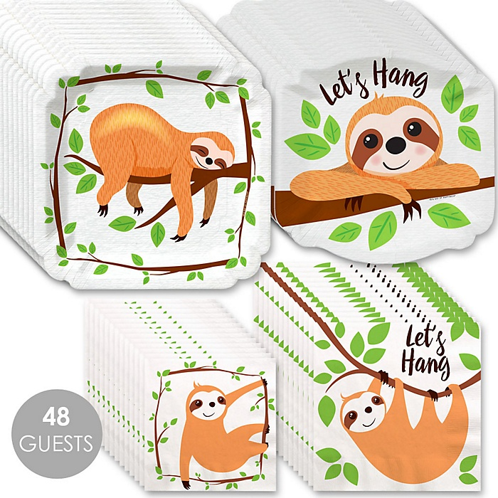 Let's Hang - Sloth - Baby Shower or Birthday Party Tableware Plates and Napkins - Bundle for 48