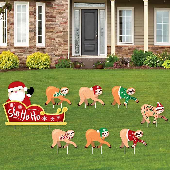 Sloth Christmas Sleigh - Yard Sign and Outdoor Lawn Decorations - Merry Slothmas Holiday Party Yard Signs - Set of 8