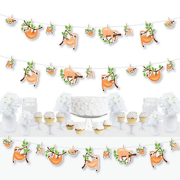 Let's Hang - Sloth - Baby Shower or Birthday Party DIY Decorations - Clothespin Garland Banner - 44 Pieces