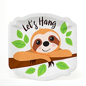 Let's Hang - Sloth - Baby Shower or Birthday Party Dessert Plates - 16 ct
