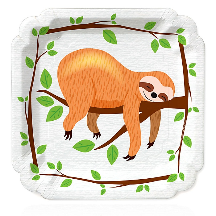 Let's Hang - Sloth - Baby Shower or Birthday Party Dinner Plates - 16 ct