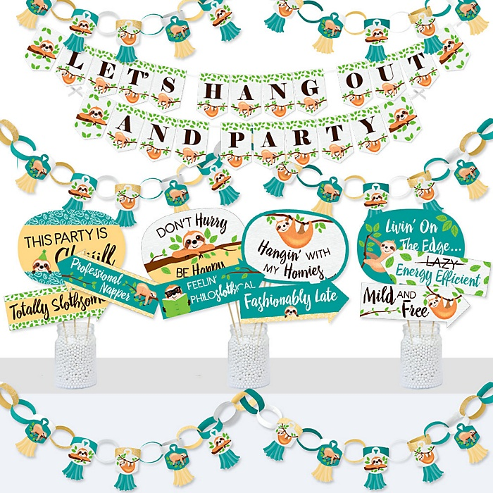 Let's Hang - Sloth - Banner and Photo Booth Decorations - Baby Shower or Birthday Party Supplies Kit - Doterrific Bundle