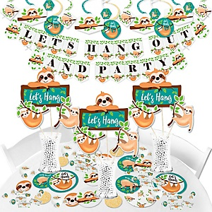 Let's Hang - Sloth - Baby Shower or Birthday Party Supplies - Banner Decoration Kit - Fundle Bundle