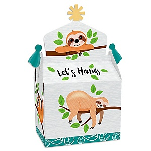 Let's Hang - Sloth - Treat Box Party Favors - Baby Shower or Birthday Party Goodie Gable Boxes - Set of 12
