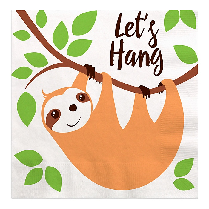 Let's Hang - Sloth - Baby Shower or Birthday Party Luncheon Napkins - 16 ct