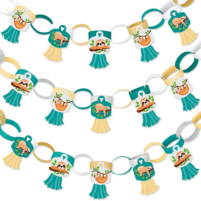 Let's Hang - Sloth - 90 Chain Links and 30 Paper Tassels Decoration Kit - Baby Shower or Birthday Party Paper Chains Garland - 21 feet