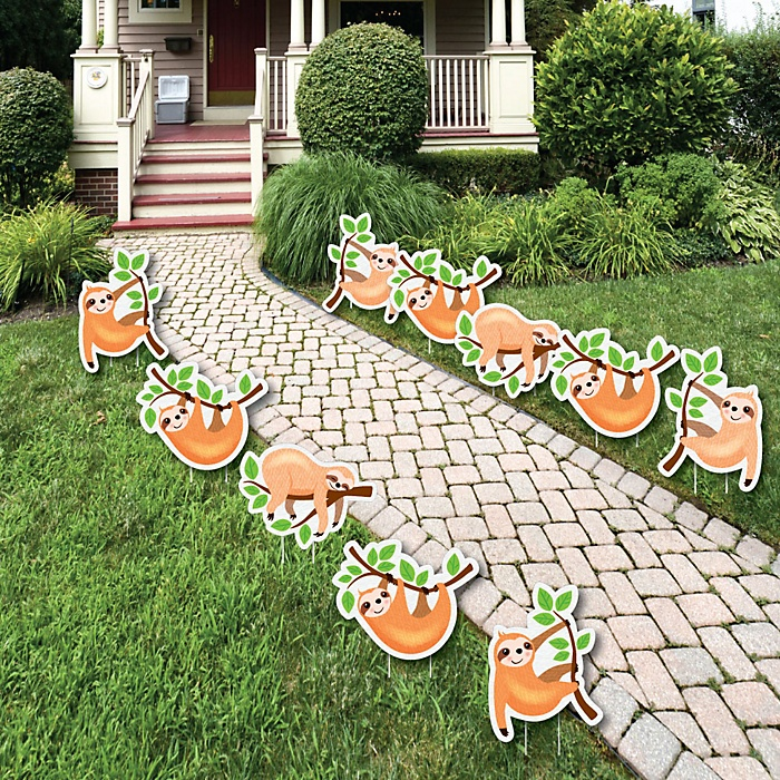 Let's Hang - Sloth - Lawn Decorations - Outdoor Baby Shower or Birthday Party Yard Decorations - 10 Piece