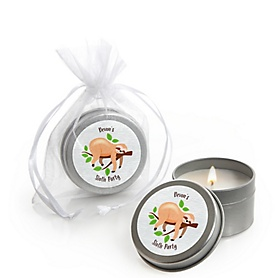 Let's Hang - Sloth - Personalized Party Candle Tin Favors - Set of 12