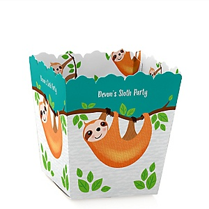 Let's Hang - Sloth - Party Mini Favor Boxes - Personalized Party Treat Candy Boxes - Set of 12