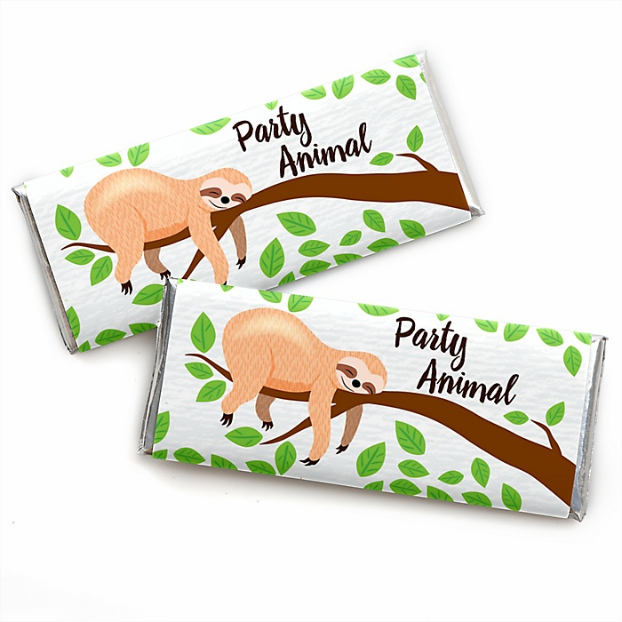 Let's Hang - Sloth -  Candy Bar Wrappers Baby Shower Favors - Set of 24