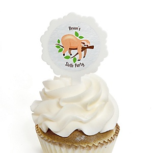 Let's Hang - Sloth - Personalized Party Cupcake Picks and Sticker Kit - 12 ct