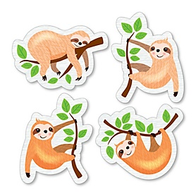 Let's Hang - Sloth - DIY Shaped Baby Shower or Birthday Party Cut-Outs - 24 ct