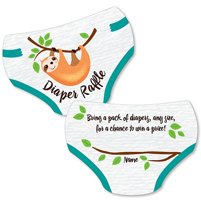 Let's Hang - Sloth - Diaper Shaped Raffle Ticket Inserts - Baby Shower Activities - Diaper Raffle Game - Set of 24