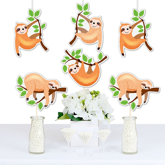 Let's Hang - Sloth - Decorations DIY Baby Shower or Birthday Party Essentials - Set of 20