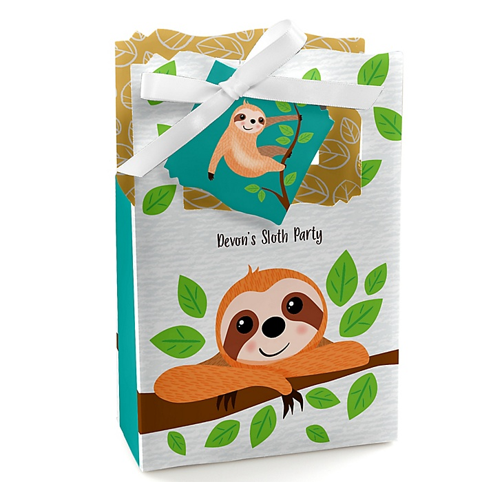 Let's Hang - Sloth - Personalized Party Favor Boxes - Set of 12