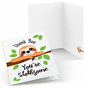 Let's Hang - Sloth -  Baby Shower or Birthday Party Thank You Cards  - 8 ct