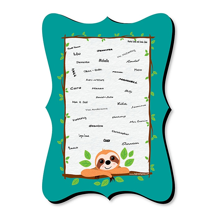 Let's Hang - Sloth - Unique Alternative Guest Book - Baby Shower or Birthday Party Signature Mat