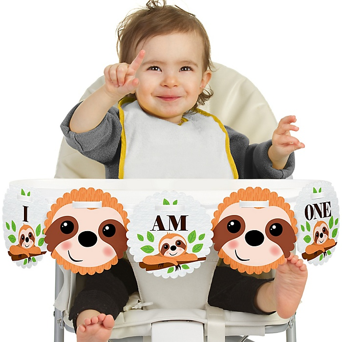 Let's Hang - Sloth 1st Birthday - I am One - First Birthday High Chair Banner