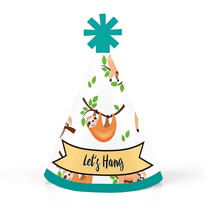 Let's Hang - Sloth - Personalized Mini Cone Baby Shower or Birthday Party Hats - Small Little Party Hats - Set of 10