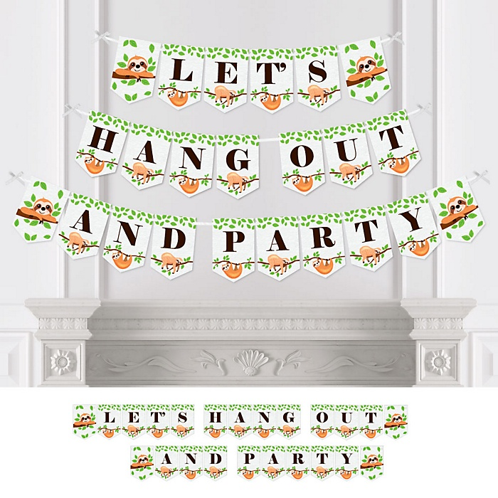 Let's Hang - Sloth - Baby Shower or Birthday Party Bunting Banner - Party Decorations - Let's Hang Out and Party