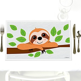 Let's Hang - Sloth - Party Table Decorations - Party Placemats - Set of 12