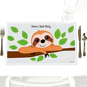 Let's Hang - Sloth - Party Table Decorations - Personalized Party Placemats - Set of 12