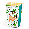 Let's Hang - Sloth - Personalized Baby Shower or Birthday Party Favor Popcorn Treat Boxes - Set of 12