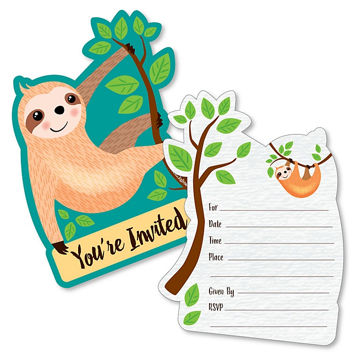 Let's Hang - Sloth - Shaped Fill-In Invitations - Baby Shower or Birthday Party Invitation Cards with Envelopes - Set of 12