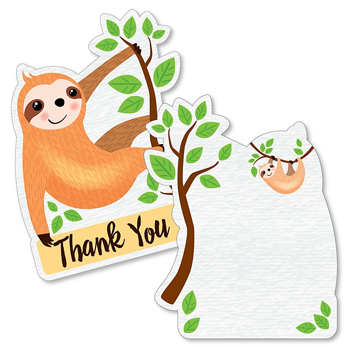 Let's Hang - Sloth - Shaped Thank You Cards - Baby Shower or Birthday Party Thank You Note Cards with Envelopes - Set of 12