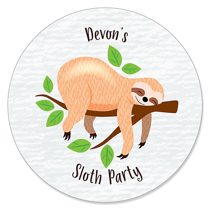 Let's Hang - Sloth - Personalized Baby Shower or Birthday Party Sticker Labels - 24 ct