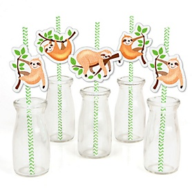 Let's Hang - Sloth - Paper Straw Decor - Baby Shower or Birthday Party Striped Decorative Straws - Set of 24
