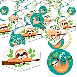 Let's Hang - Sloth - Baby Shower or Birthday Party Hanging Decor - Party Decoration Swirls - Set of 40