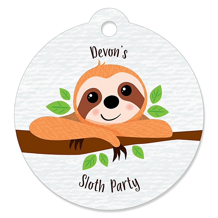 Let's Hang - Sloth - Round Personalized Party Tags - 20 ct