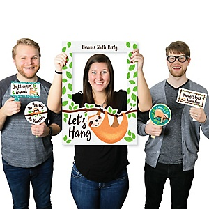 Let's Hang - Sloth - Personalized Birthday Party or Baby Shower Selfie Photo Booth Picture Frame & Props - Printed on Sturdy Material
