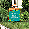 Let's Hang - Sloth - Party Decorations - Baby Shower or Birthday Party Personalized Welcome Yard Sign