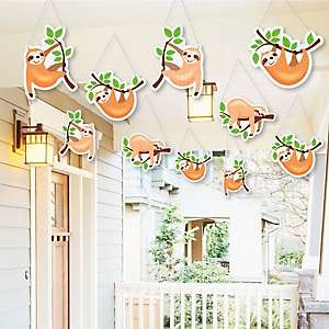 Hanging Let's Hang - Sloth - Outdoor Baby Shower or Birthday Party Hanging Porch & Tree Yard Decorations - 10 Pieces