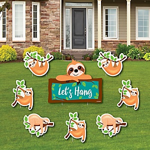 Let's Hang - Sloth - Yard Sign & Outdoor Lawn Decorations - Baby Shower or Birthday Party Yard Signs - Set of 8