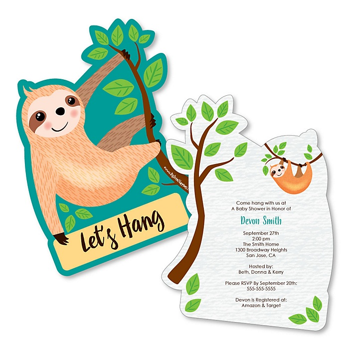 Let's Hang - Sloth - Shaped Baby Shower Invitations - Set of 12