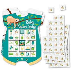 Let's Hang - Sloth - Picture Bingo Cards and Markers - Baby Shower Shaped Bingo Game - Set of 18