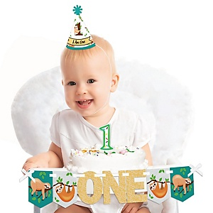 Let's Hang - Sloth 1st Birthday - First Birthday Girl or Boy Smash Cake Decorating Kit - High Chair Decorations