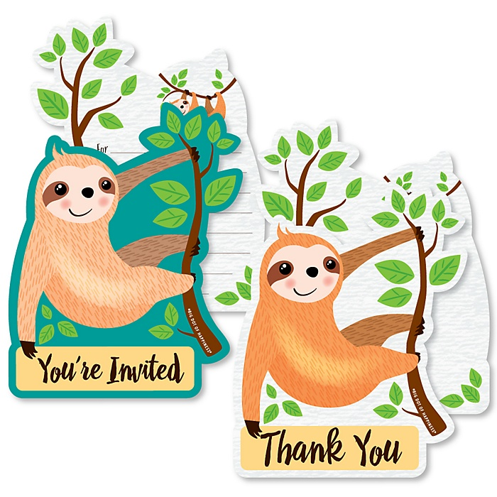 Let's Hang - Sloth - 20 Shaped Fill-In Invitations and 20 Shaped Thank You Cards Kit - Baby Shower or Birthday Party Stationery Kit - 40 Pack