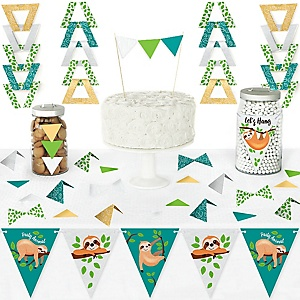 Let's Hang - Sloth - DIY Pennant Banner Decorations - Baby Shower or Birthday Party Triangle Kit - 99 Pieces