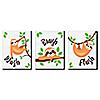"Let's Hang - Sloth - Kids Bathroom Rules Wall Art - 7.5"" x 10"" - Set of 3 Signs - Wash, Brush, Flush"