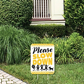Please Slow Down - Outdoor Lawn Sign - Kids at Play Neighborhood Yard Sign - 1 Piece