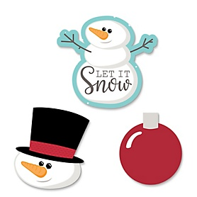 Let It Snow - Snowman - DIY Shaped Holiday & Christmas Party Paper Cut-Outs - 24 ct
