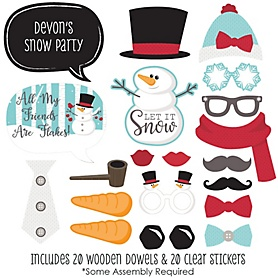 Let It Snow - Snowman - 20 Piece Holiday & Christmas Party Photo Booth Props Kit